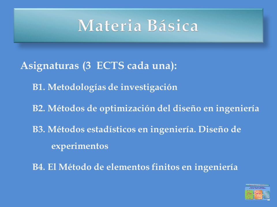 Materia Básica Asignaturas (3 ECTS cada una):