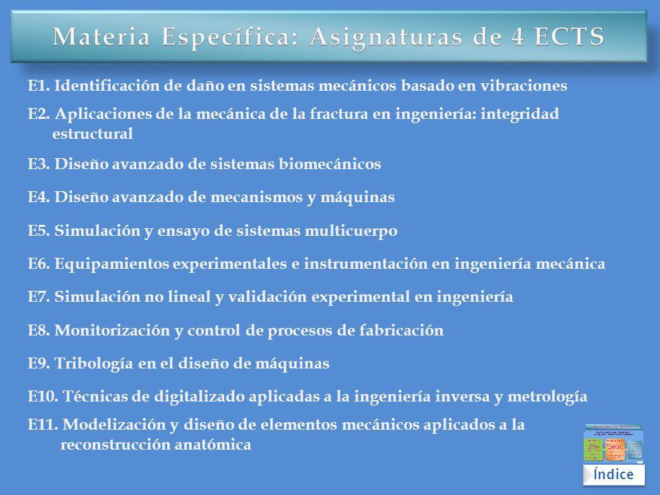 Materia Específica: Asignaturas de 4 ECTS