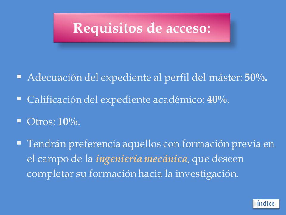 Requisitos de acceso: Adecuación del expediente al perfil del máster: 50%. Calificación del expediente académico: 40%.