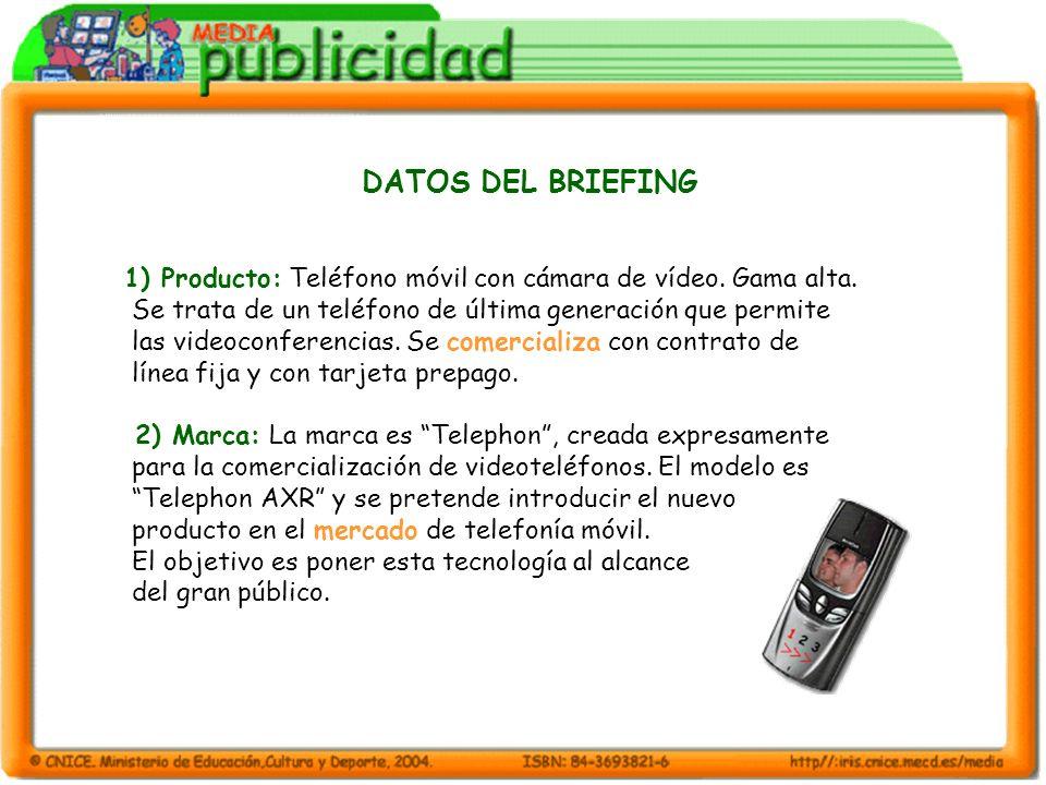 DATOS DEL BRIEFING 1) Producto: Teléfono móvil con cámara de vídeo. Gama alta. Se trata de un teléfono de última generación que permite.