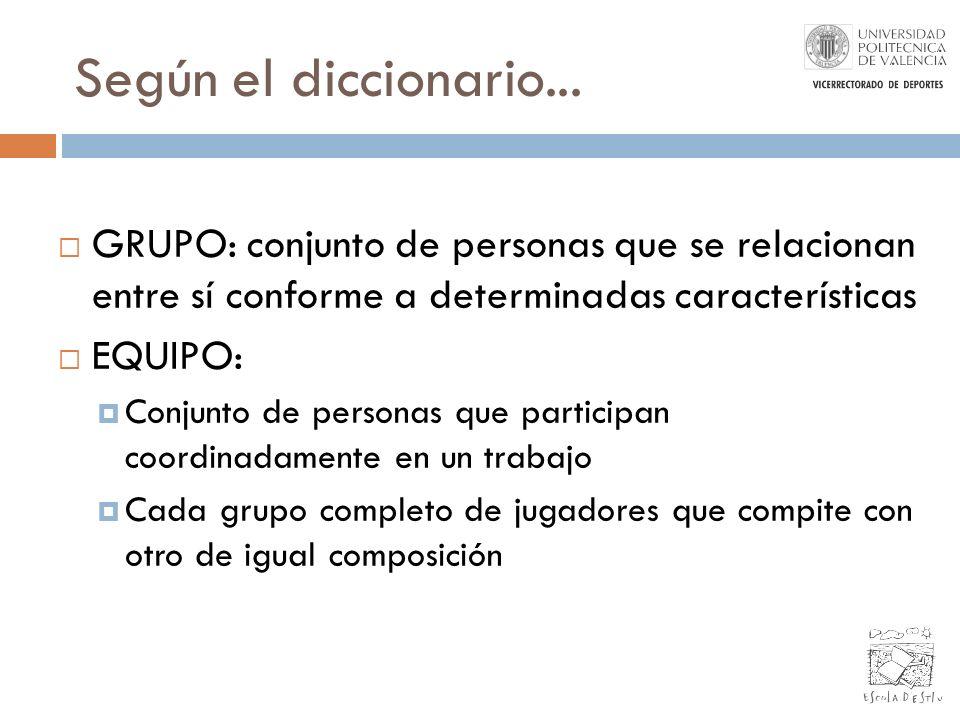 Según el diccionario... GRUPO: conjunto de personas que se relacionan entre sí conforme a determinadas características.
