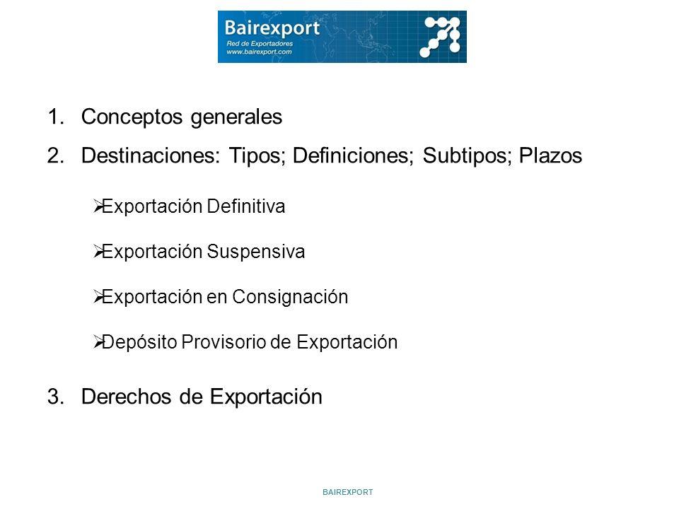 Destinaciones: Tipos; Definiciones; Subtipos; Plazos