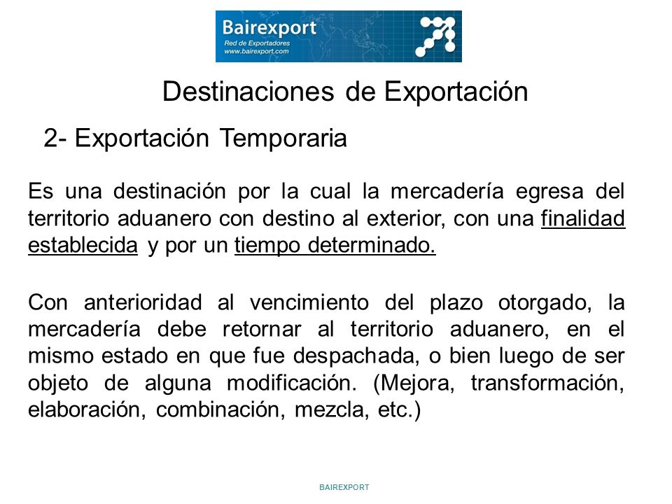 Destinaciones de Exportación