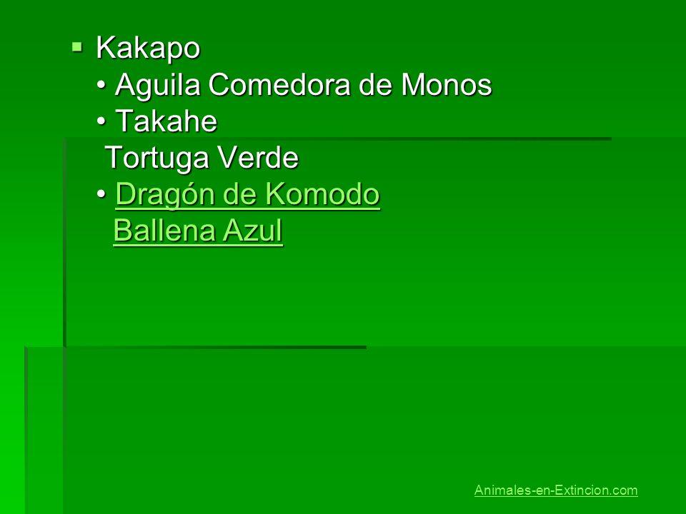 Kakapo • Aguila Comedora de Monos • Takahe Tortuga Verde • Dragón de Komodo Ballena Azul