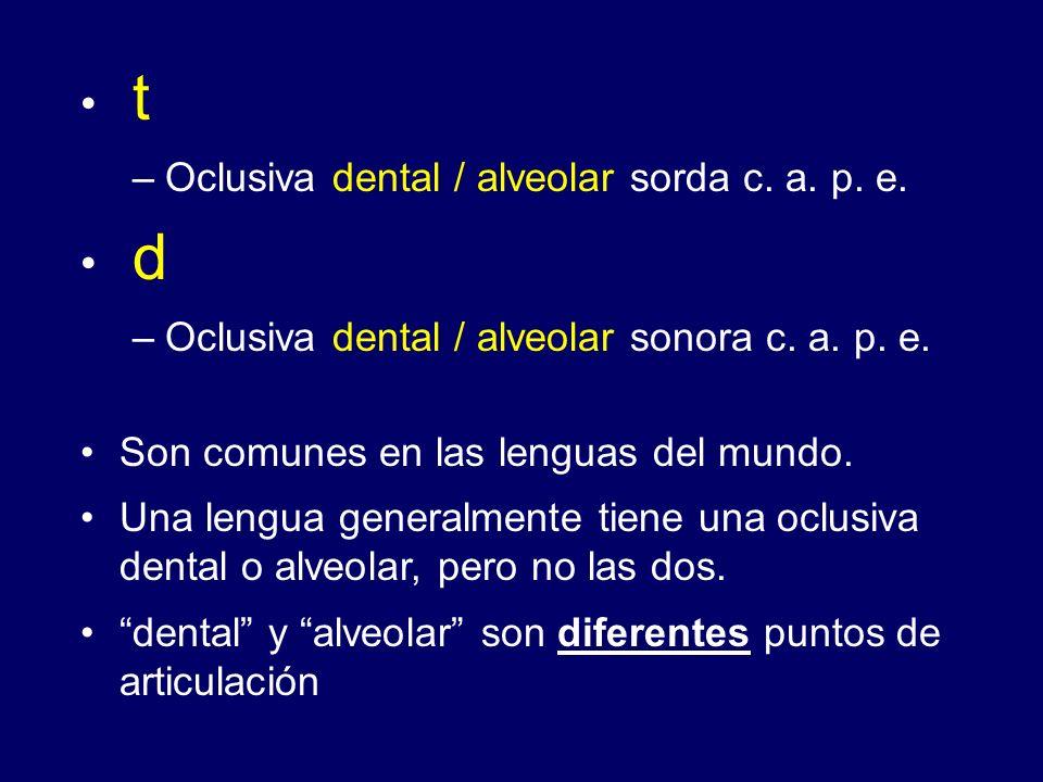 t d Oclusiva dental / alveolar sorda c. a. p. e.