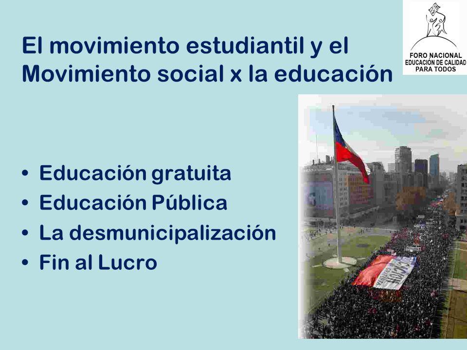 El movimiento estudiantil y el Movimiento social x la educación
