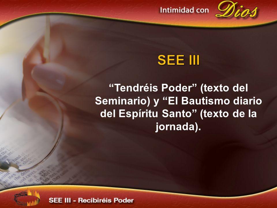 SEE III Tendréis Poder (texto del Seminario) y El Bautismo diario del Espíritu Santo (texto de la jornada).
