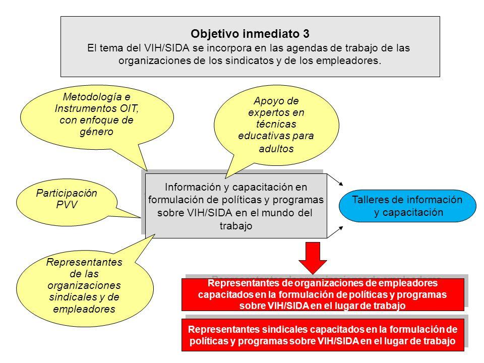 Objetivo inmediato 3 El tema del VIH/SIDA se incorpora en las agendas de trabajo de las. organizaciones de los sindicatos y de los empleadores.