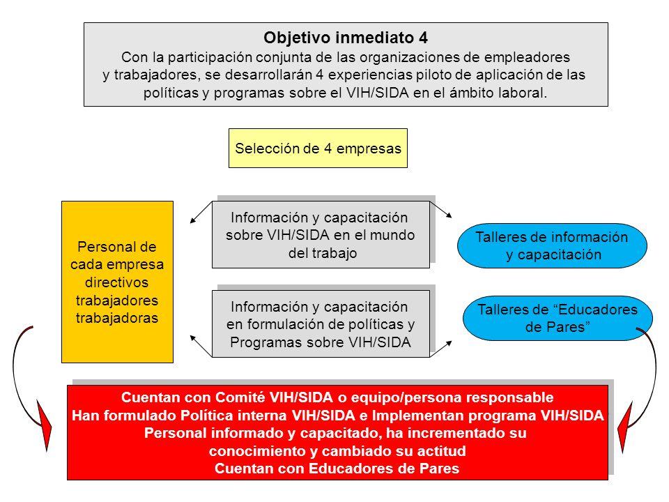 Objetivo inmediato 4 Con la participación conjunta de las organizaciones de empleadores.