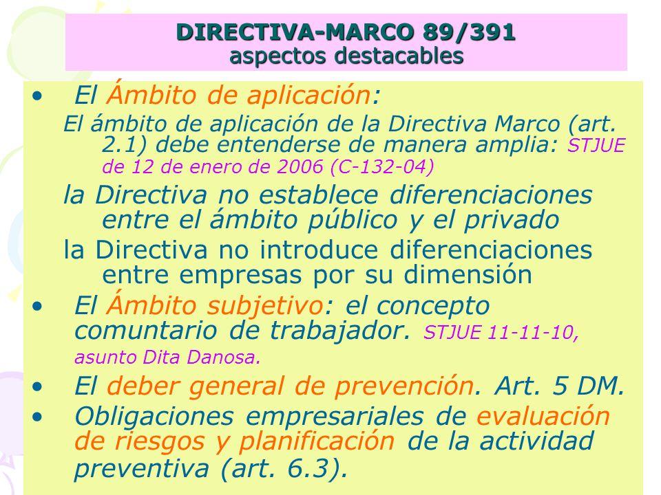 DIRECTIVA-MARCO 89/391 aspectos destacables