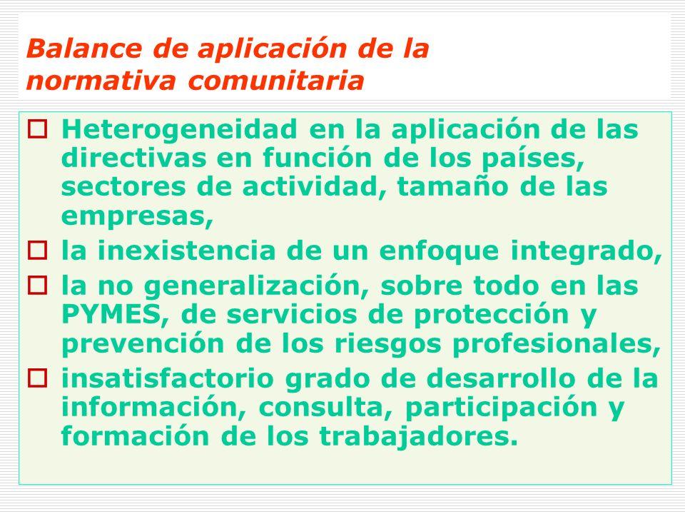 Balance de aplicación de la normativa comunitaria