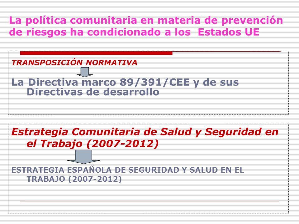 La Directiva marco 89/391/CEE y de sus Directivas de desarrollo