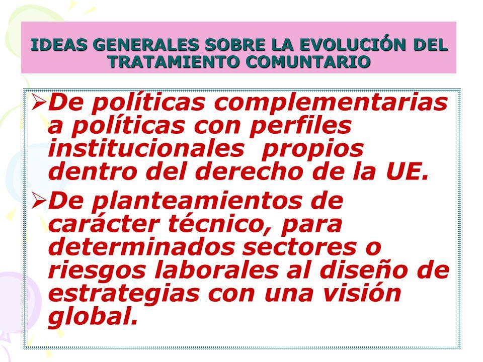 IDEAS GENERALES SOBRE LA EVOLUCIÓN DEL TRATAMIENTO COMUNTARIO