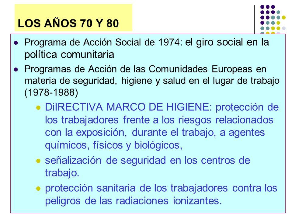 LOS AÑOS 70 Y 80 Programa de Acción Social de 1974: el giro social en la política comunitaria.