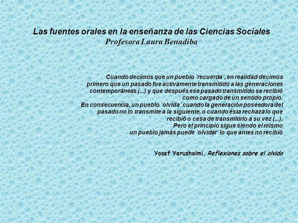 Las fuentes orales en la enseñanza de las Ciencias Sociales