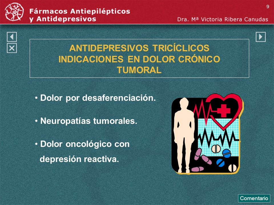 ANTIDEPRESIVOS TRICÍCLICOS INDICACIONES EN DOLOR CRÓNICO TUMORAL