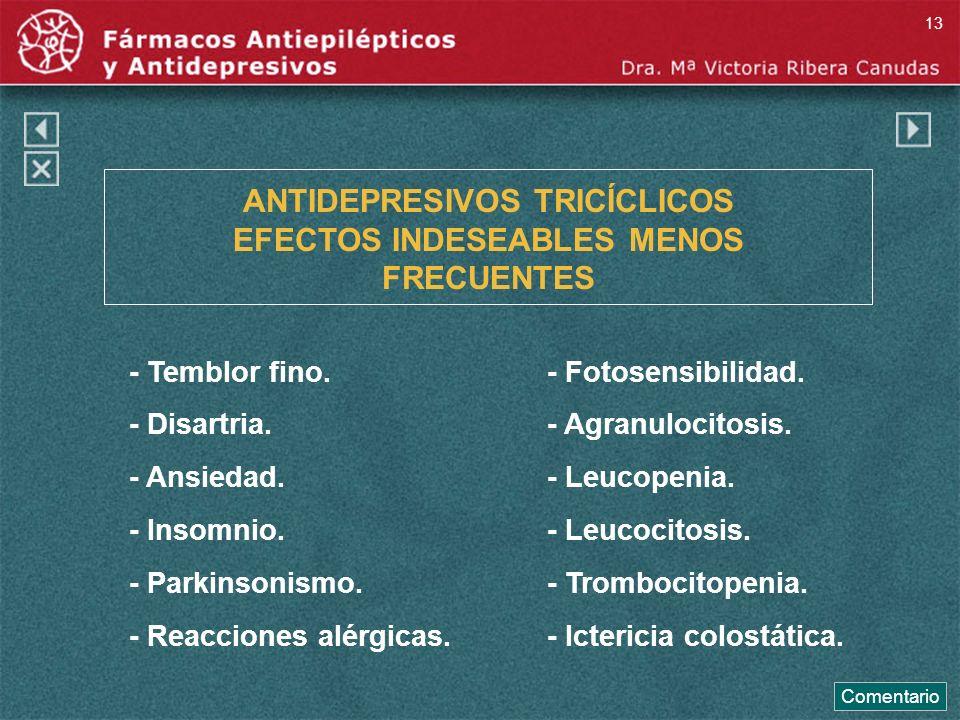 ANTIDEPRESIVOS TRICÍCLICOS EFECTOS INDESEABLES MENOS FRECUENTES