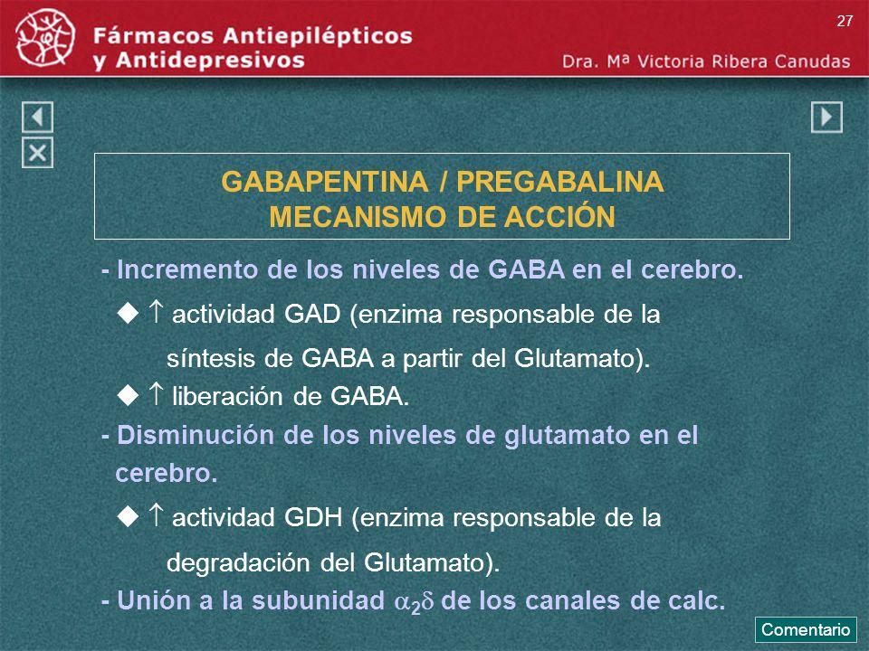 GABAPENTINA / PREGABALINA MECANISMO DE ACCIÓN