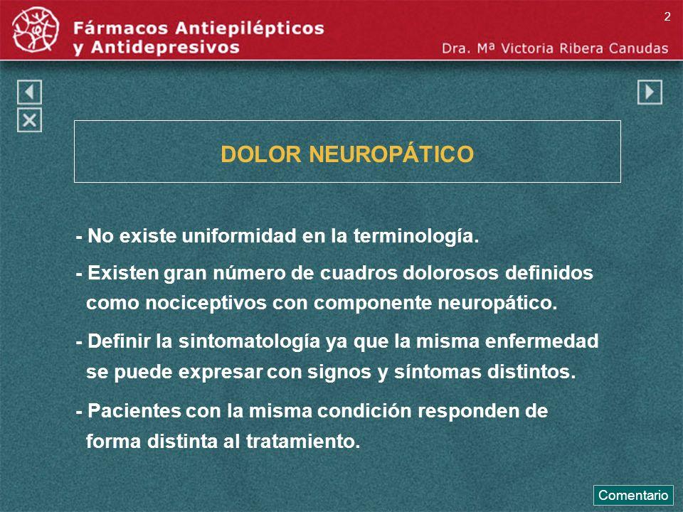 DOLOR NEUROPÁTICO - No existe uniformidad en la terminología.