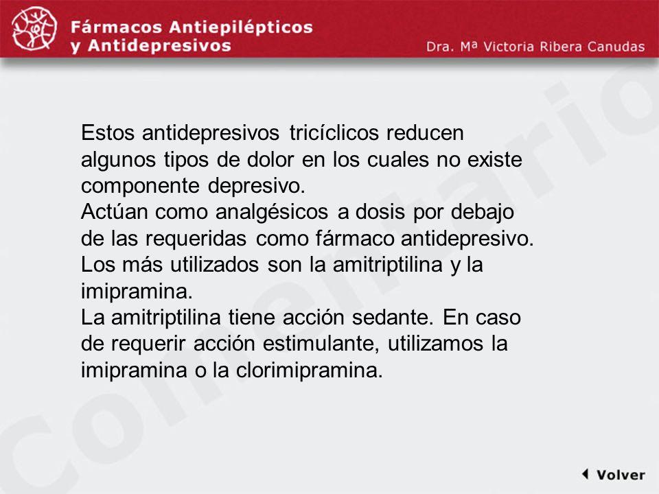 Comentariodiapo7 Estos antidepresivos tricíclicos reducen algunos tipos de dolor en los cuales no existe componente depresivo.