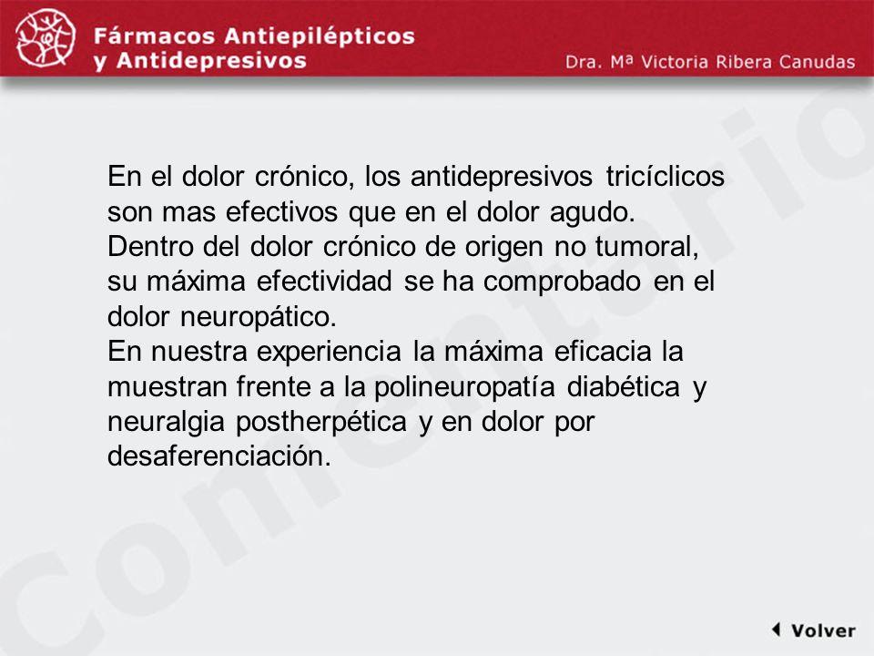 Comentariodiapo8 En el dolor crónico, los antidepresivos tricíclicos son mas efectivos que en el dolor agudo.
