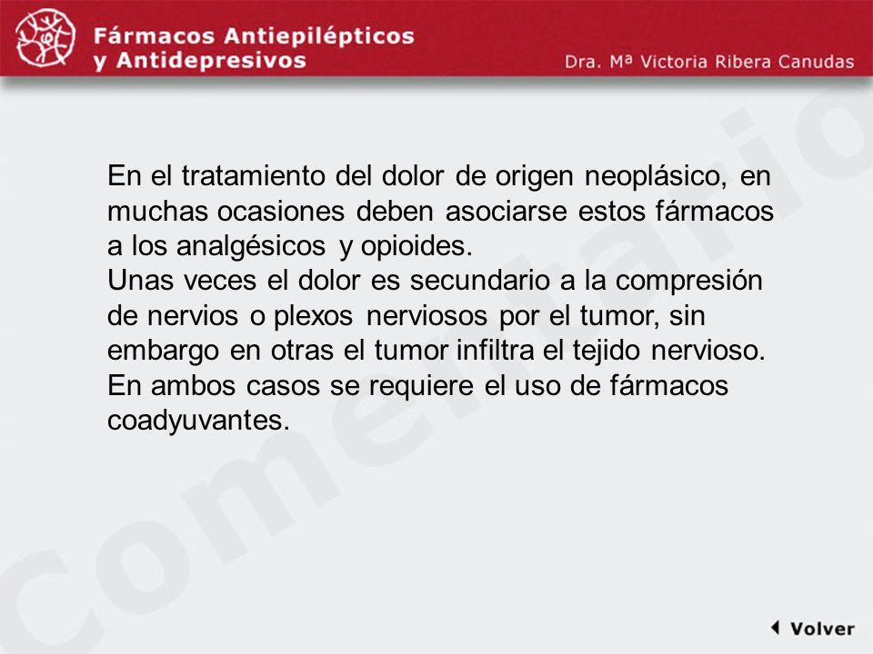 Comentariodiapo10 En el tratamiento del dolor de origen neoplásico, en muchas ocasiones deben asociarse estos fármacos a los analgésicos y opioides.