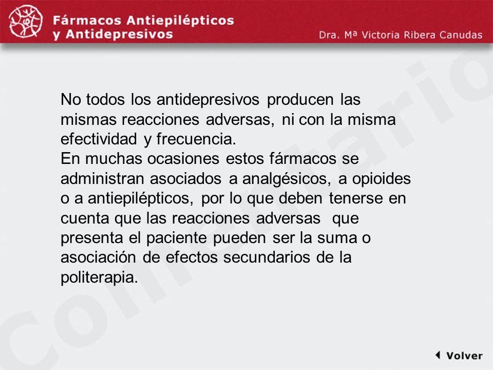 Comentariodiapo13 No todos los antidepresivos producen las mismas reacciones adversas, ni con la misma efectividad y frecuencia.