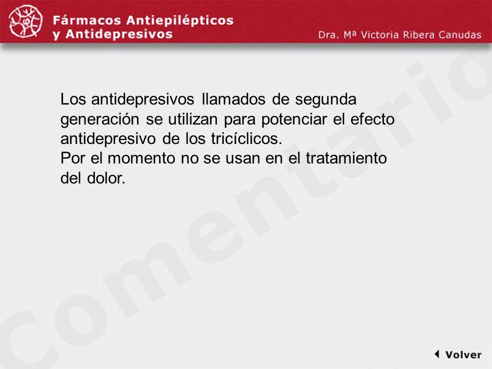 Comentariodiapo16 Los antidepresivos llamados de segunda generación se utilizan para potenciar el efecto antidepresivo de los tricíclicos.