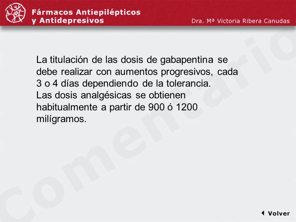Comentariodiapo32 La titulación de las dosis de gabapentina se debe realizar con aumentos progresivos, cada 3 o 4 días dependiendo de la tolerancia.
