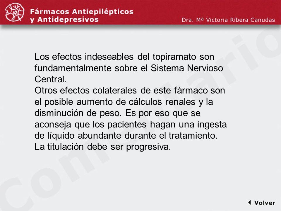 Comentariodiapo35 Los efectos indeseables del topiramato son fundamentalmente sobre el Sistema Nervioso Central.