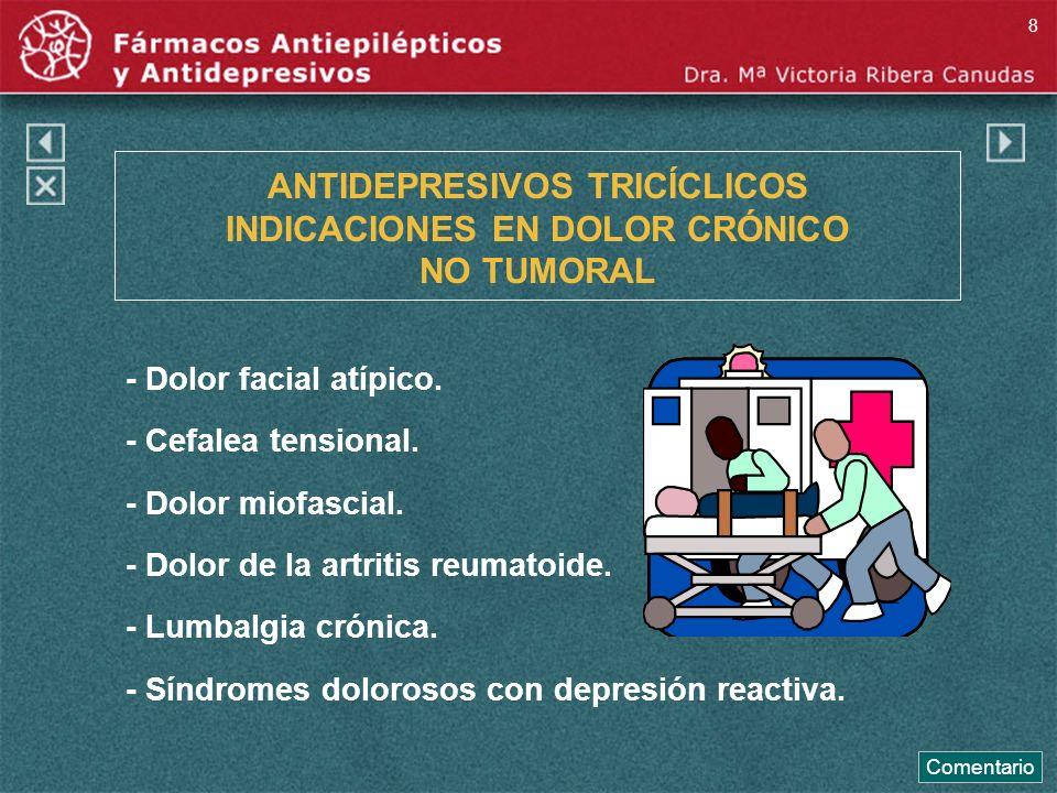 ANTIDEPRESIVOS TRICÍCLICOS INDICACIONES EN DOLOR CRÓNICO NO TUMORAL