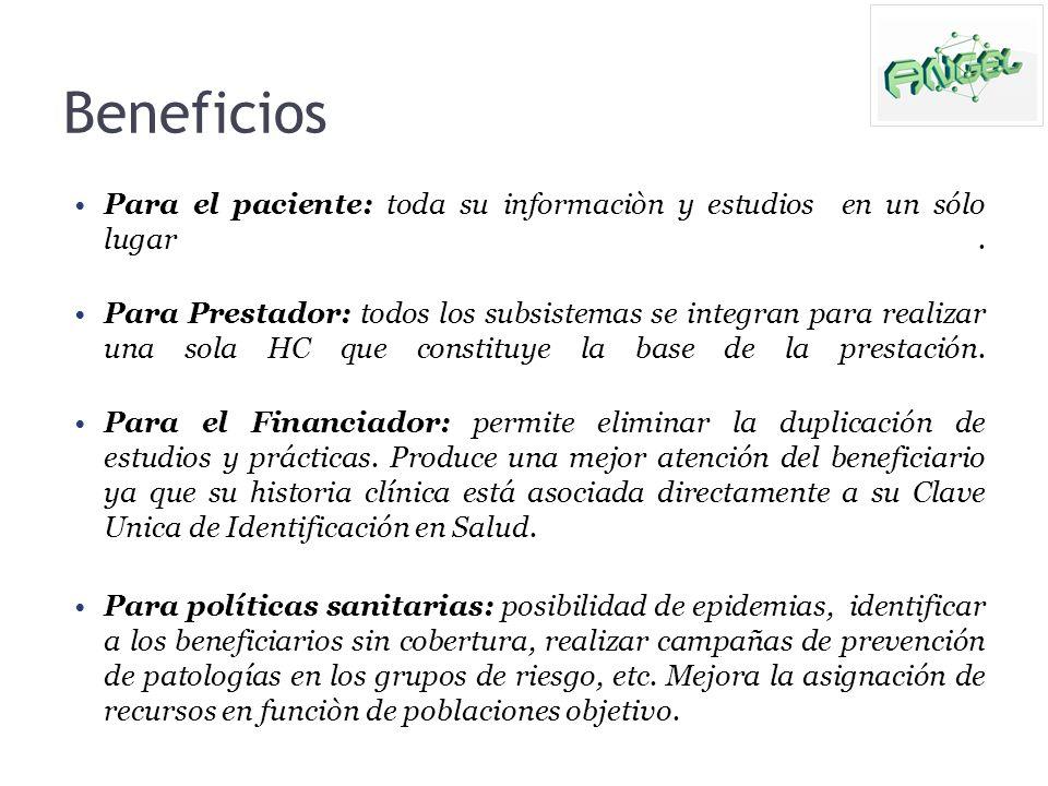 Beneficios Para el paciente: toda su informaciòn y estudios en un sólo lugar .