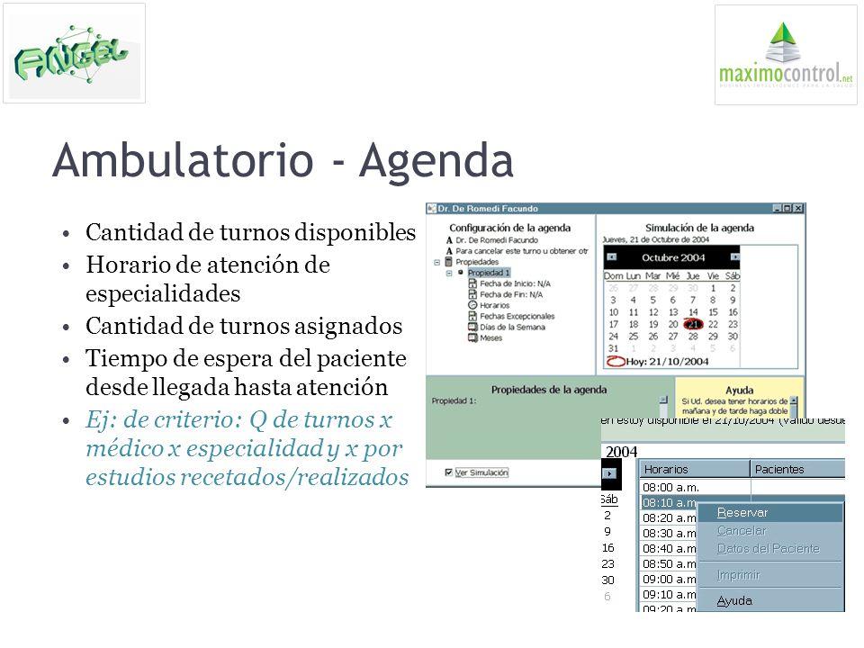 Ambulatorio - Agenda Cantidad de turnos disponibles