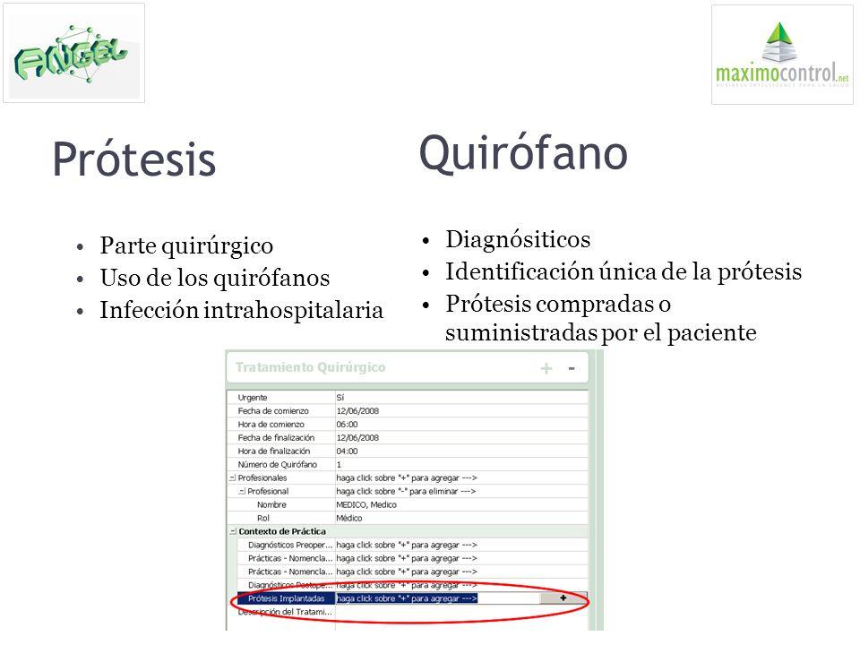 Quirófano Prótesis Diagnósiticos Parte quirúrgico