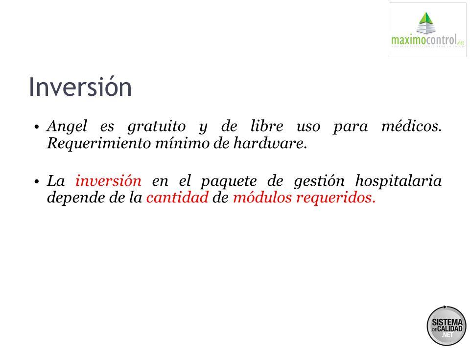 Inversión Angel es gratuito y de libre uso para médicos. Requerimiento mínimo de hardware.