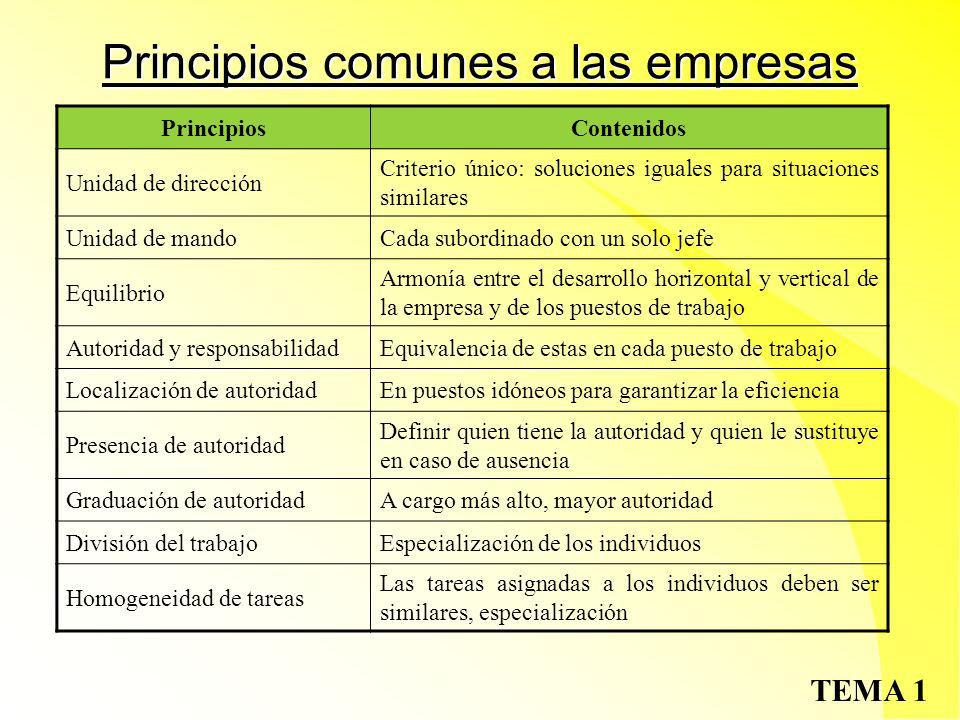 Principios comunes a las empresas