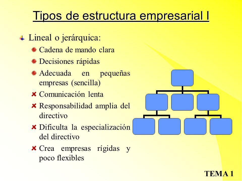 Tipos de estructura empresarial I