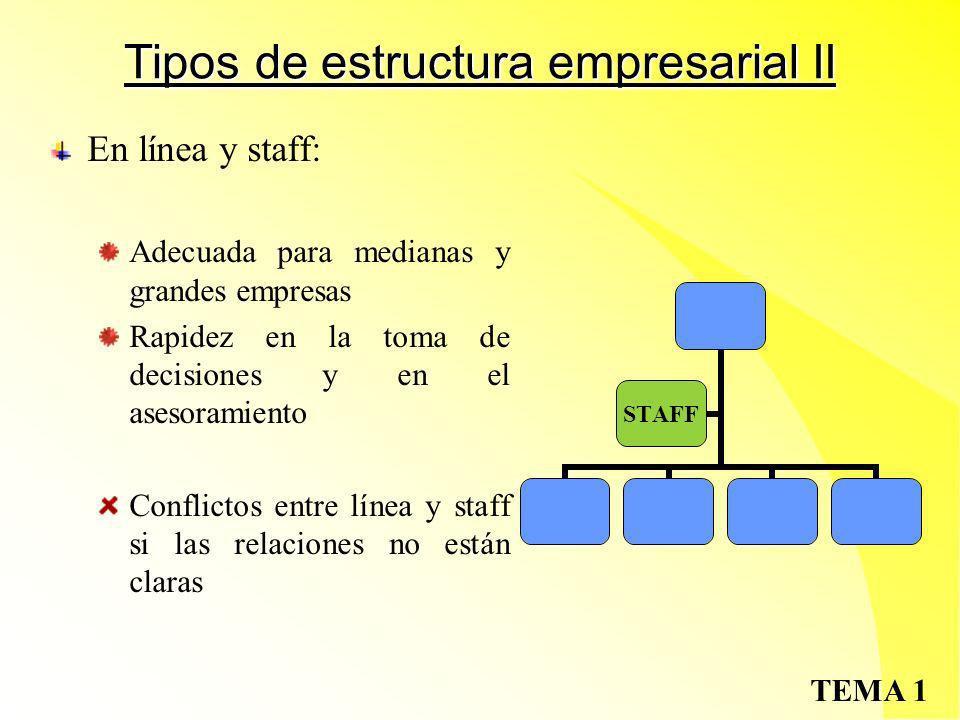 Tipos de estructura empresarial II