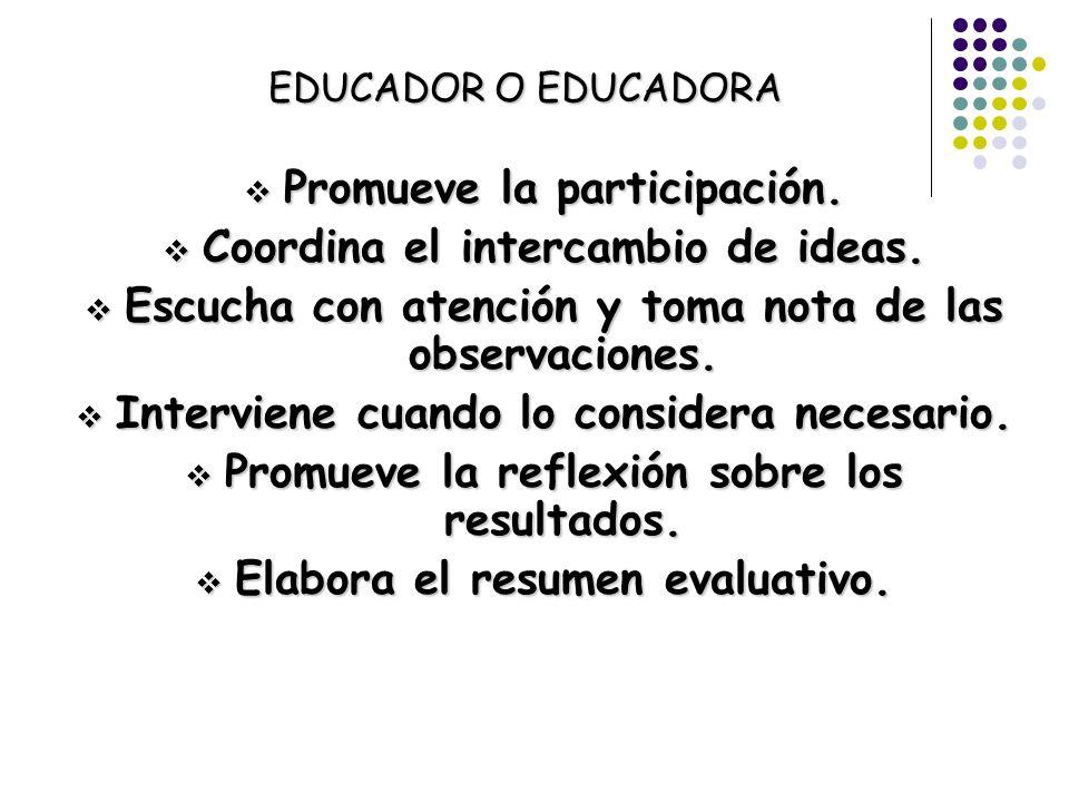 Promueve la participación. Coordina el intercambio de ideas.