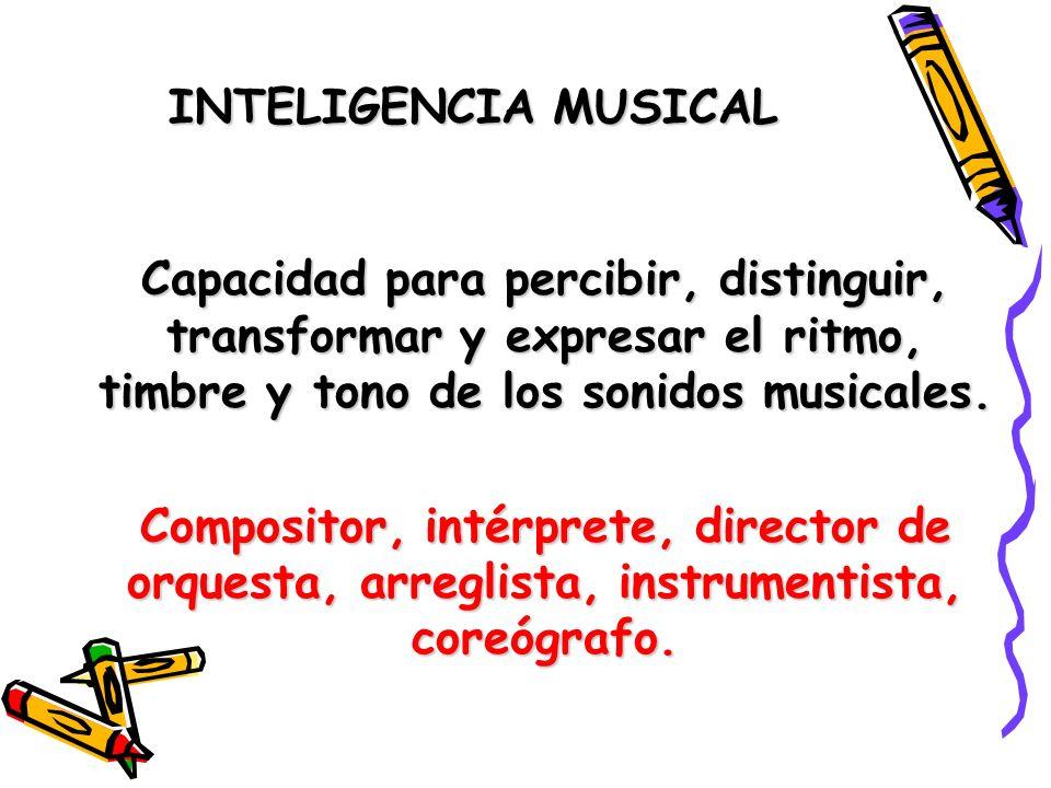 INTELIGENCIA MUSICALCapacidad para percibir, distinguir, transformar y expresar el ritmo, timbre y tono de los sonidos musicales.