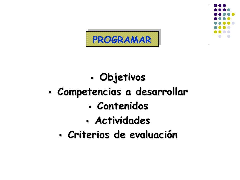 Competencias a desarrollar Criterios de evaluación