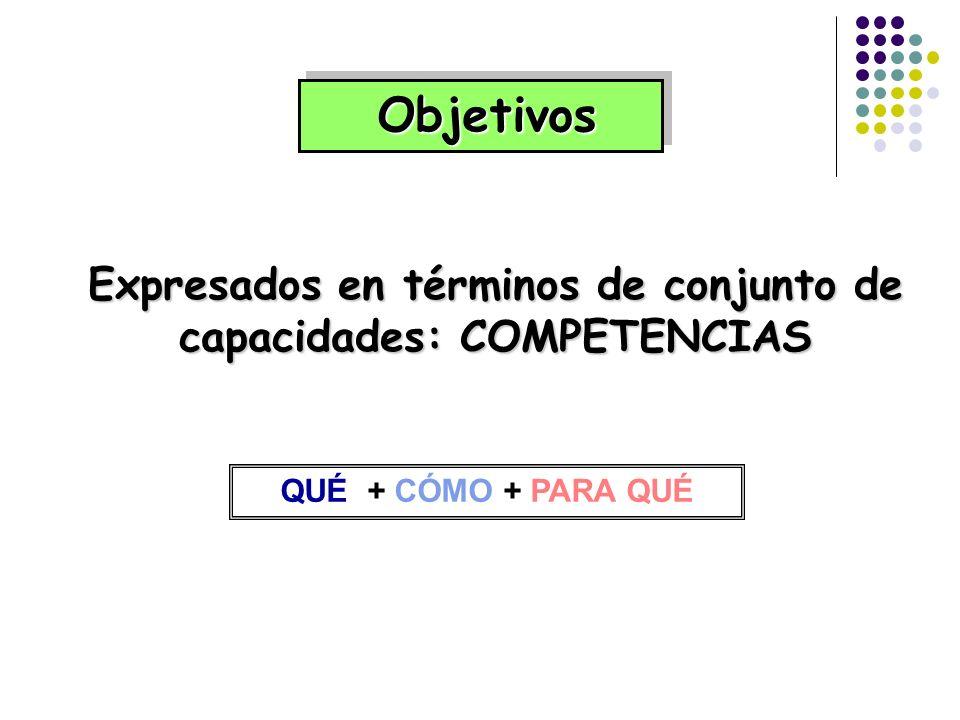 Expresados en términos de conjunto de capacidades: COMPETENCIAS