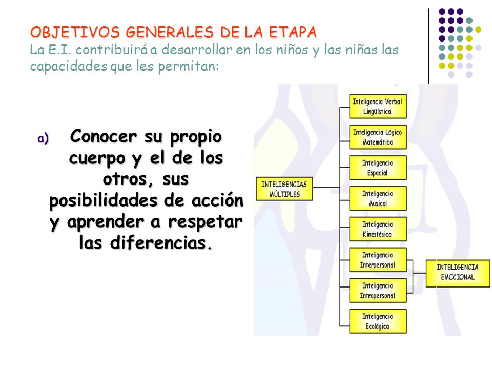 OBJETIVOS GENERALES DE LA ETAPA La E. I