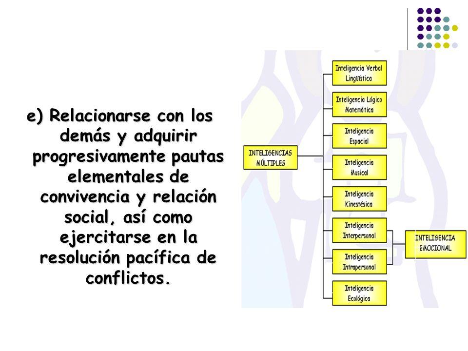 e) Relacionarse con los demás y adquirir progresivamente pautas elementales de convivencia y relación social, así como ejercitarse en la resolución pacífica de conflictos.