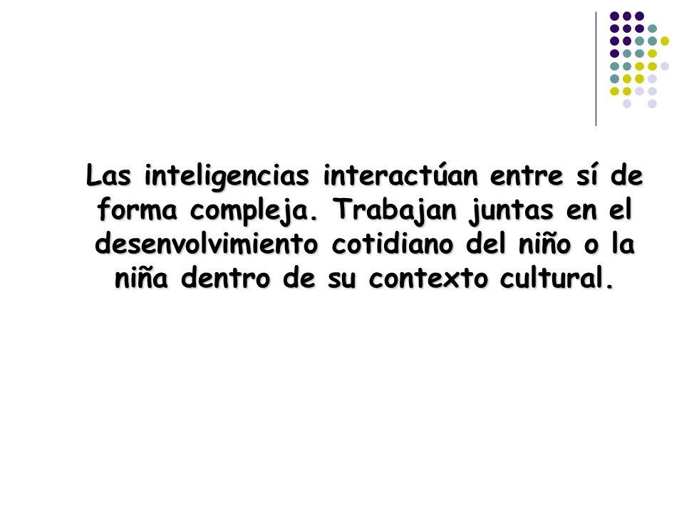 Las inteligencias interactúan entre sí de forma compleja