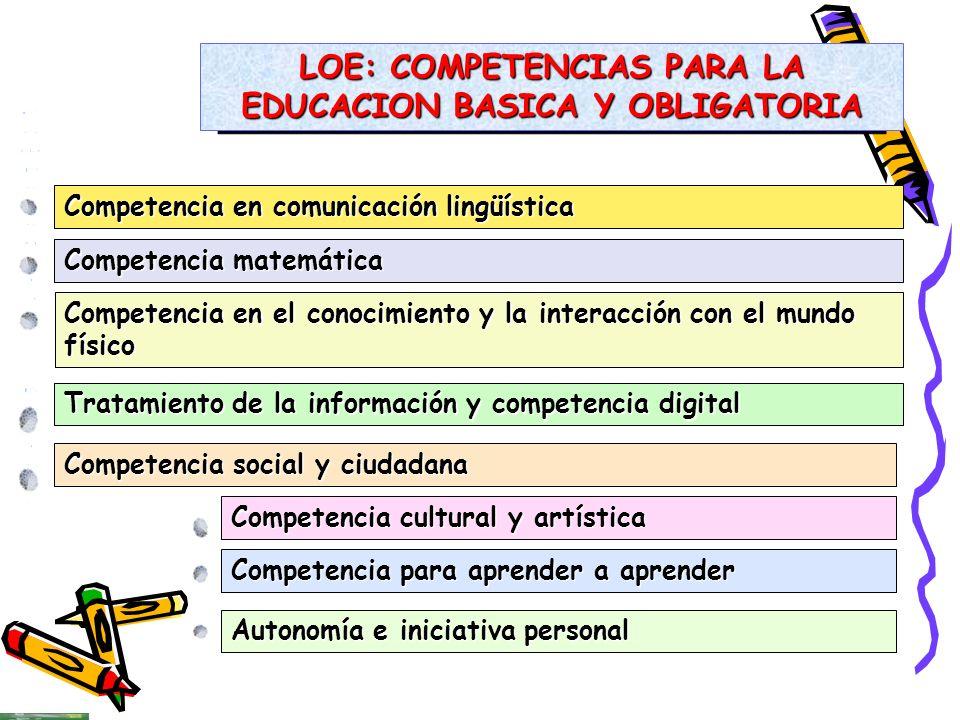 LOE: COMPETENCIAS PARA LA EDUCACION BASICA Y OBLIGATORIA