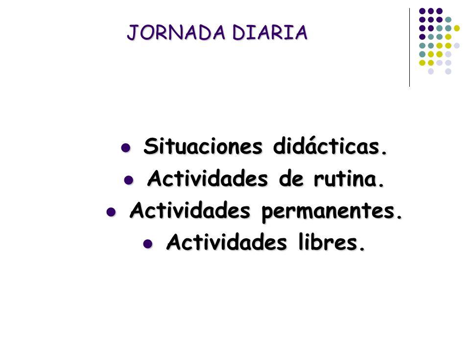 Situaciones didácticas. Actividades permanentes.