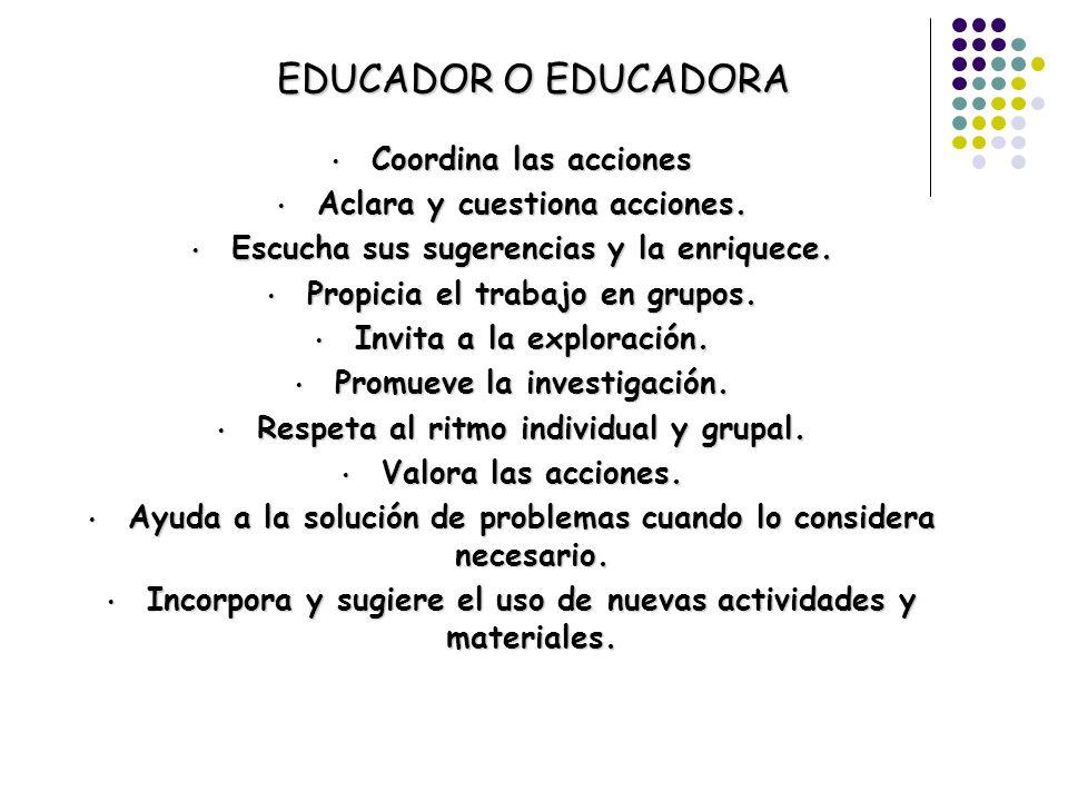 EDUCADOR O EDUCADORA Coordina las acciones