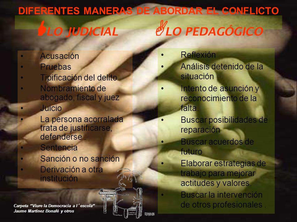 DIFERENTES MANERAS DE ABORDAR EL CONFLICTO LLO JUDICIAL ALO PEDAGÓGICO