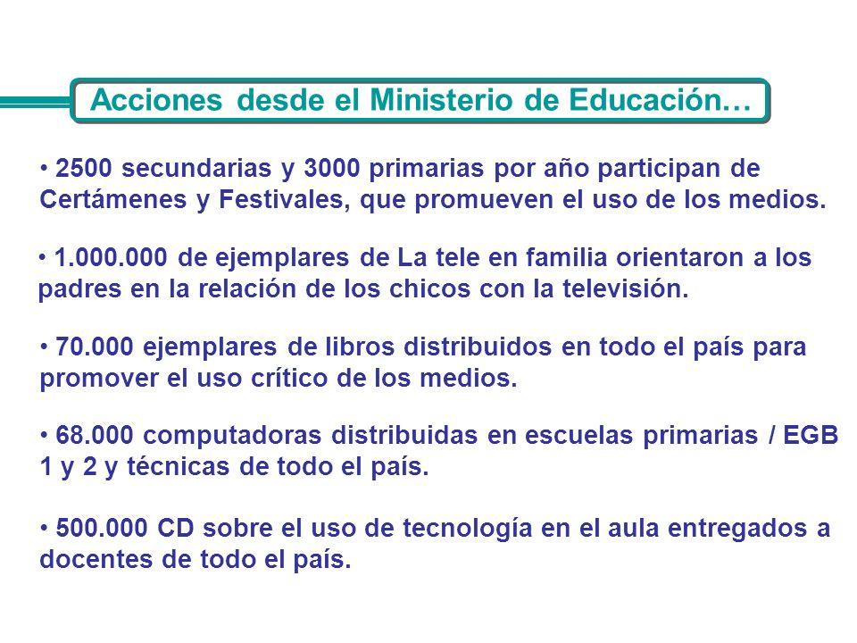 Acciones desde el Ministerio de Educación…